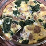 Quick and easy keto egg bake made with chicken sausage, goat cheese, and spinach. #keto #lowcarb #breakfast