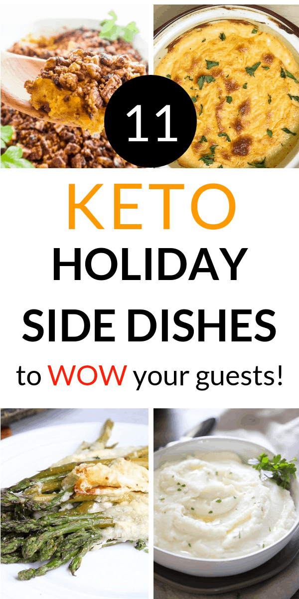The best keto holiday side dishes for Thanksgiving or Christmas. So many yummy and easy side dishes including green beans, stuffing, brussels sprouts, gluten free, and vegan.