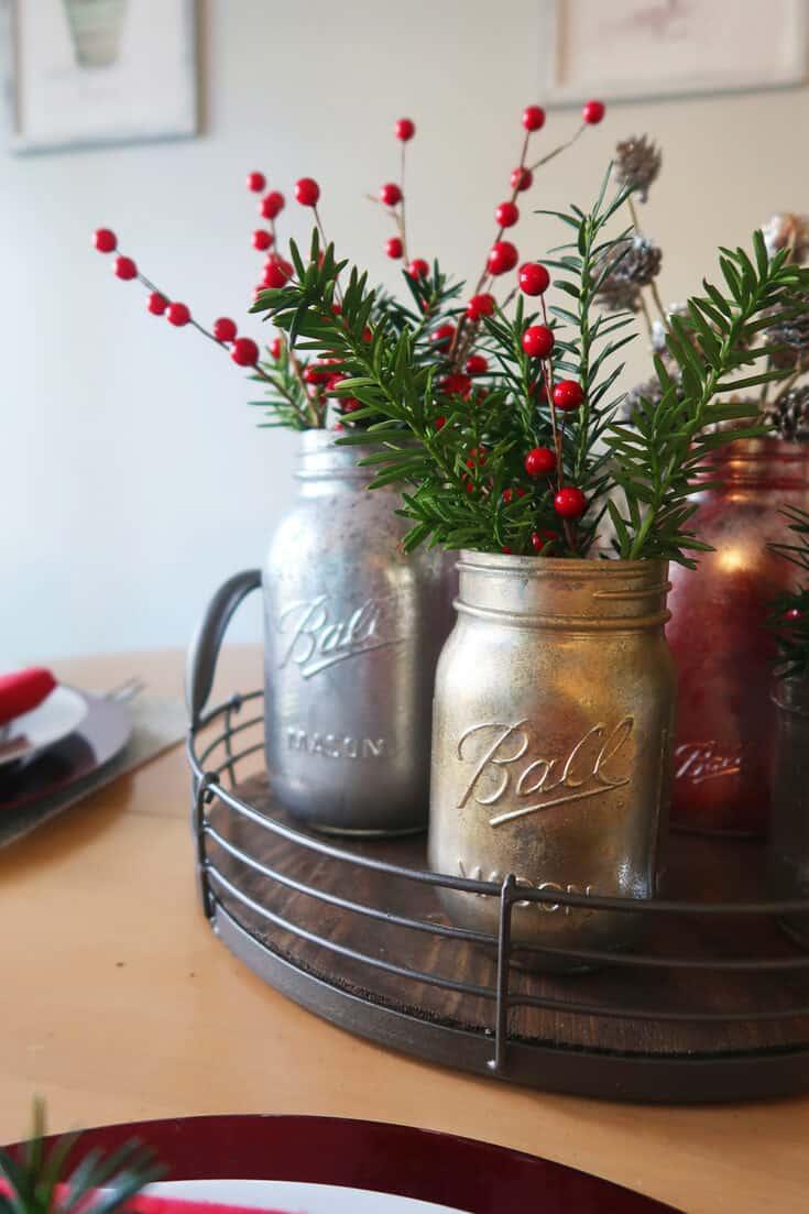 DIY Mercury Glass Mason Jar Vases