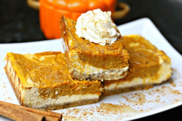 Healthy Keto Pumpkin Pie Cheesecake Bars