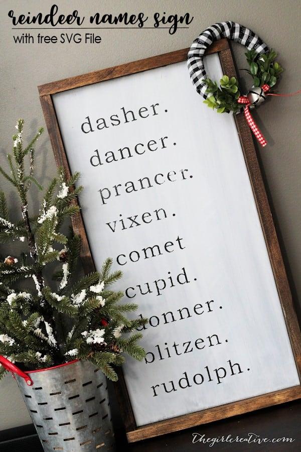 DIY Farmhouse Reindeer Names Sign