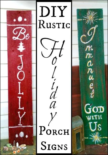 Rustic DIY Holiday Porch Signs