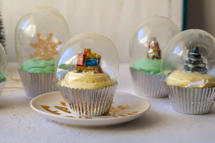Keto Gingerbread Snow Globe Cupcakes
