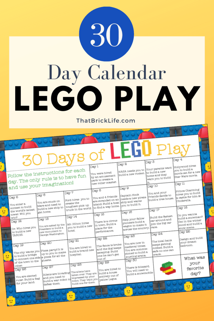 LEGO Challenge: 30 Days of Play Calendar