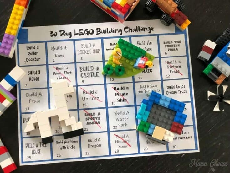 30 Day LEGO Building Challenge Free Printable