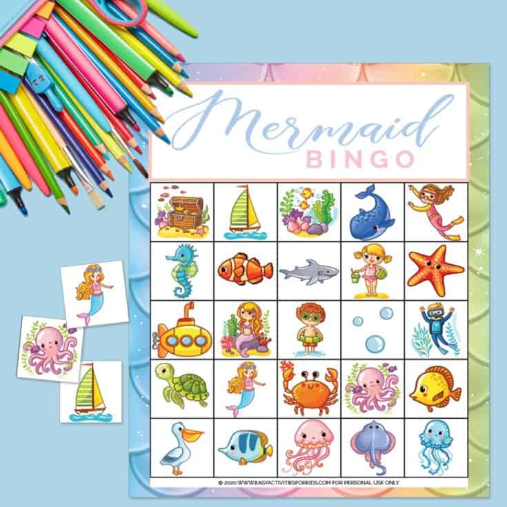 Free Printable Mermaid Bingo Game for Kids
