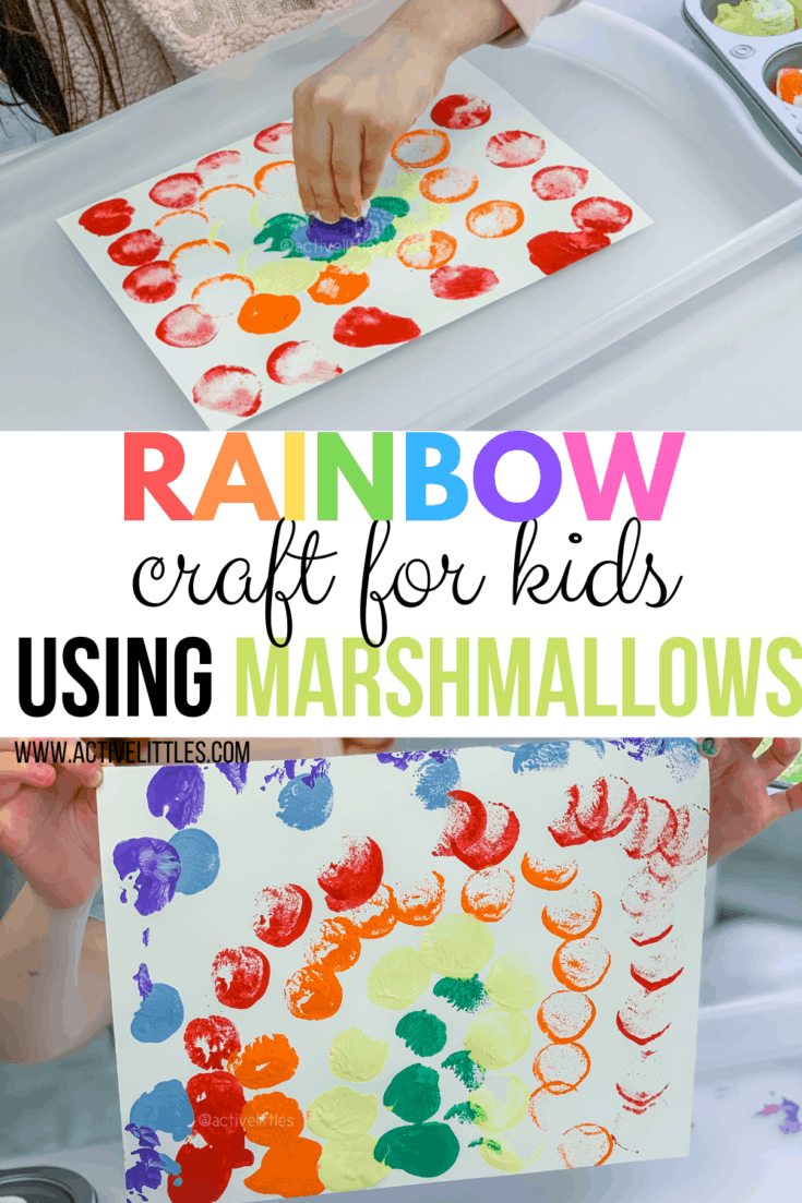 Rainbow Craft Painting using Marshmallows